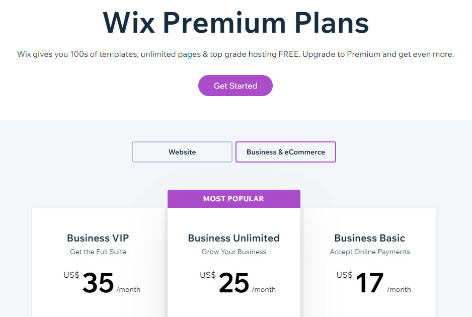 Wix-pricing-business
